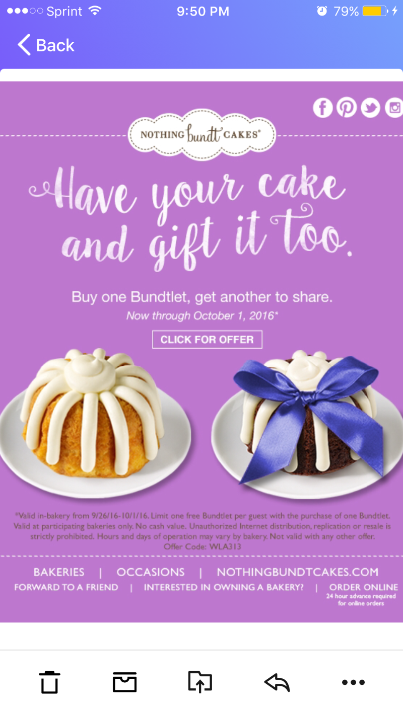Nothing Bundt Cakes Bogo Valid In Bakery 09 26 16 To 10 01 16