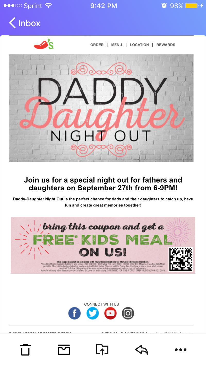 Daddy Daughter Night Out At Chilis Tue Sept 27